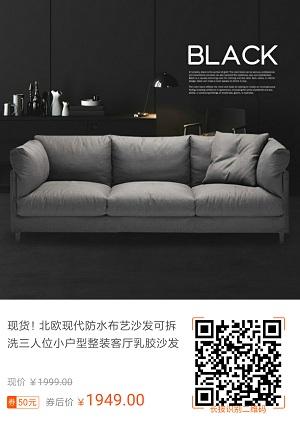 帕沙曼北欧现代乳胶布艺沙发